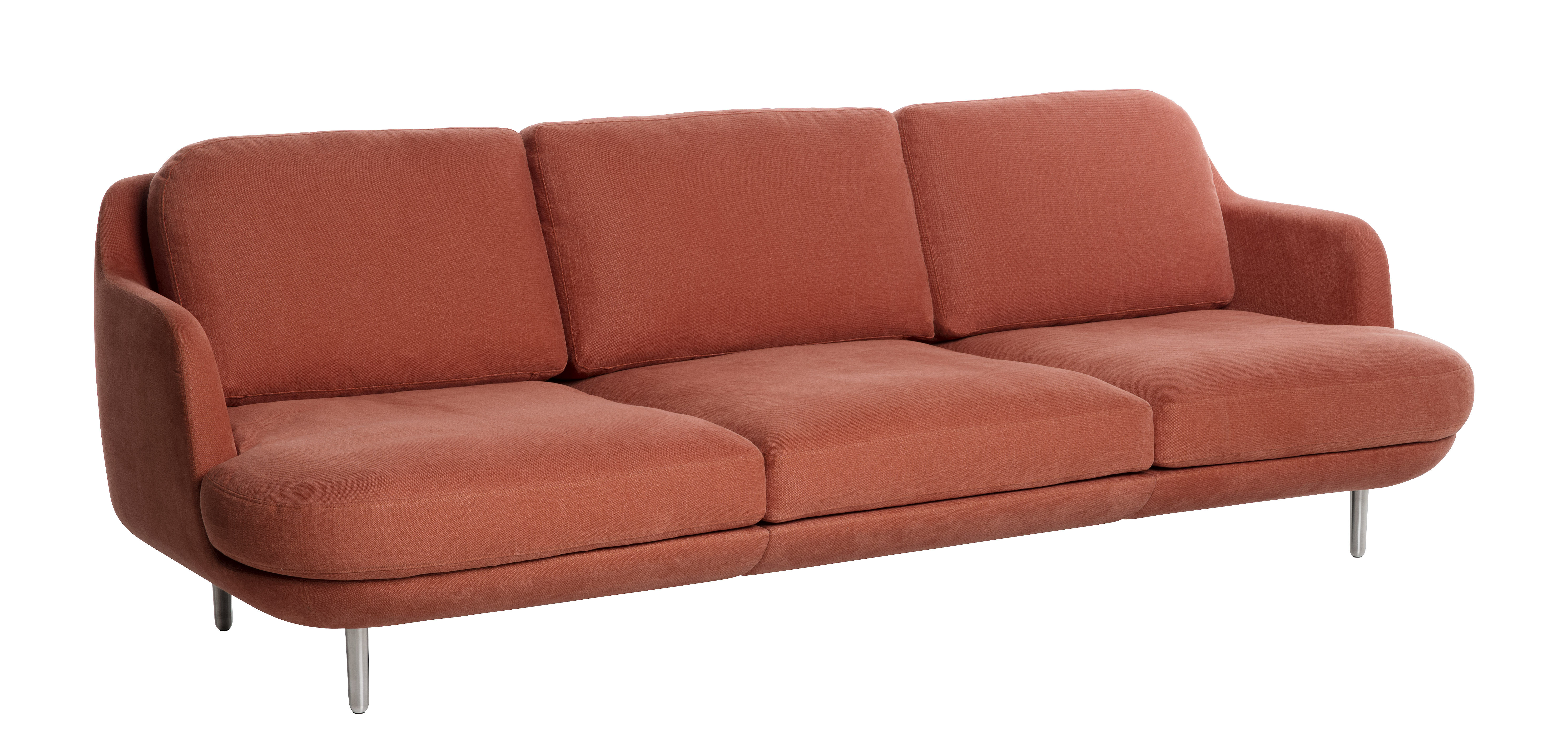 canap droit lune 3 places l 227 cm orange pieds alu bross fritz hansen. Black Bedroom Furniture Sets. Home Design Ideas