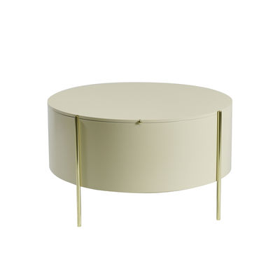 Furniture - Coffee Tables - Embore Coffee table - / Storage box - Ø 80 x H 45 cm by ENOstudio - Beige / Gold - Lacquered MDF, Steel