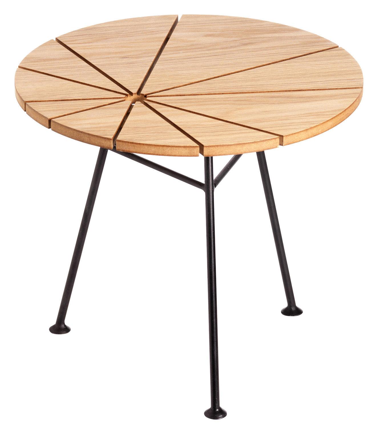 Möbel - Couchtische - Bam Bam Couchtisch Ø 50 cm - OK Design pour Sentou Edition - Eiche natur - eichenfurnierte Holzfaserplatte, lackierter Stahl