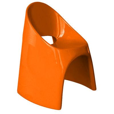 Fauteuil empilable Amélie / Plastique laqué - Slide laqué orange en matière plastique