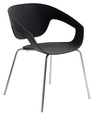 Mobilier - Chaises, fauteuils de salle à manger - Fauteuil empilable Vad / Plastique & pieds métal - Casamania - Noir - Métal verni, Polypropylène