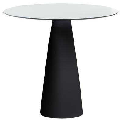 Outdoor - Tables de jardin - Table ronde Hoplà - H 72 cm / Ø 79 cm - Slide - Ø 79 cm / Blanc & pied noir - HPL stratifié, Polyéthylène