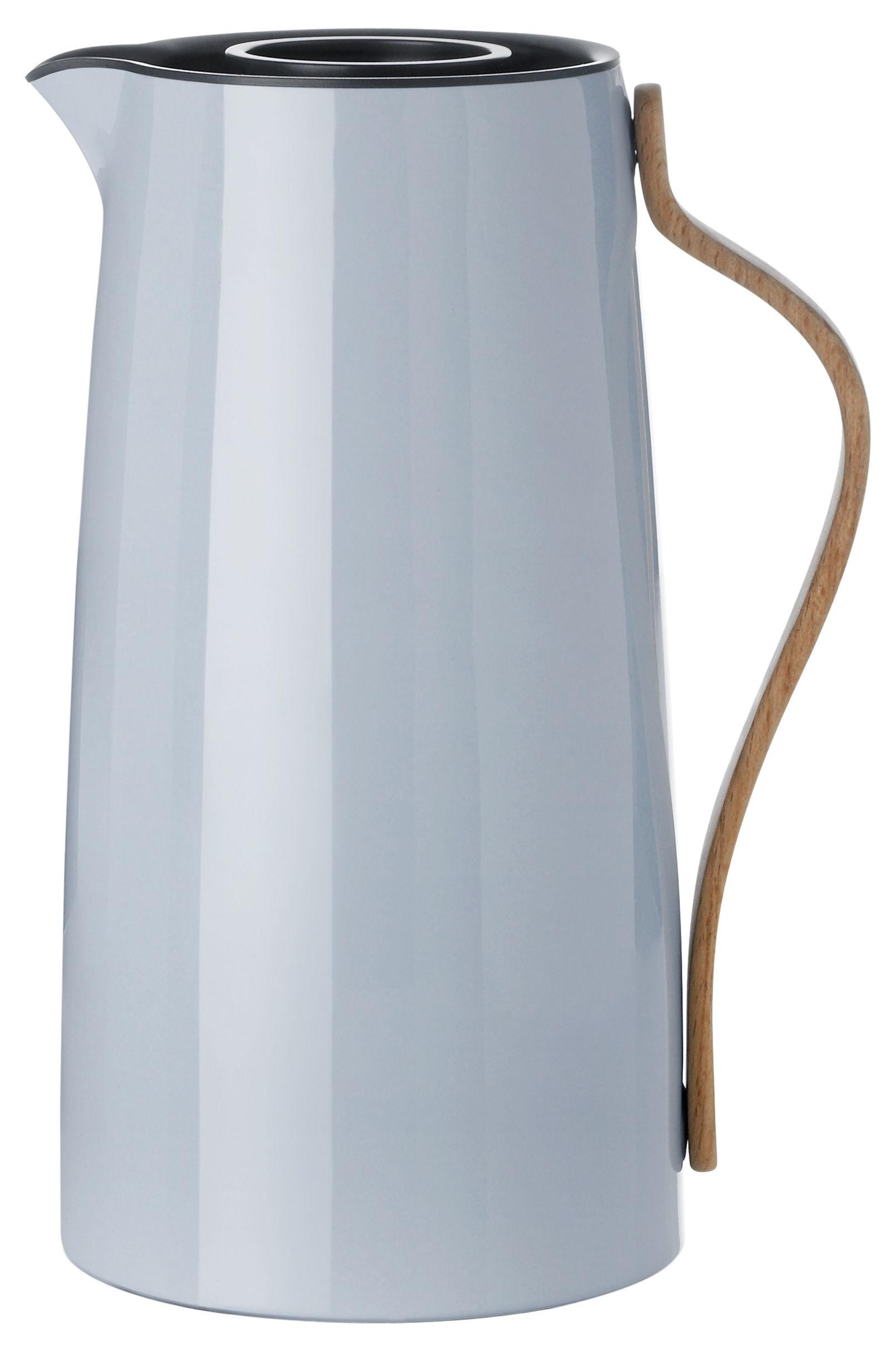 Tischkultur - Tee und Kaffee - Emma Isolierkrug / 1,2 l - Stelton - 1,2 l / hellgrau & holzfarben - Buchenfurnier, rostfreier lackierter Stahl