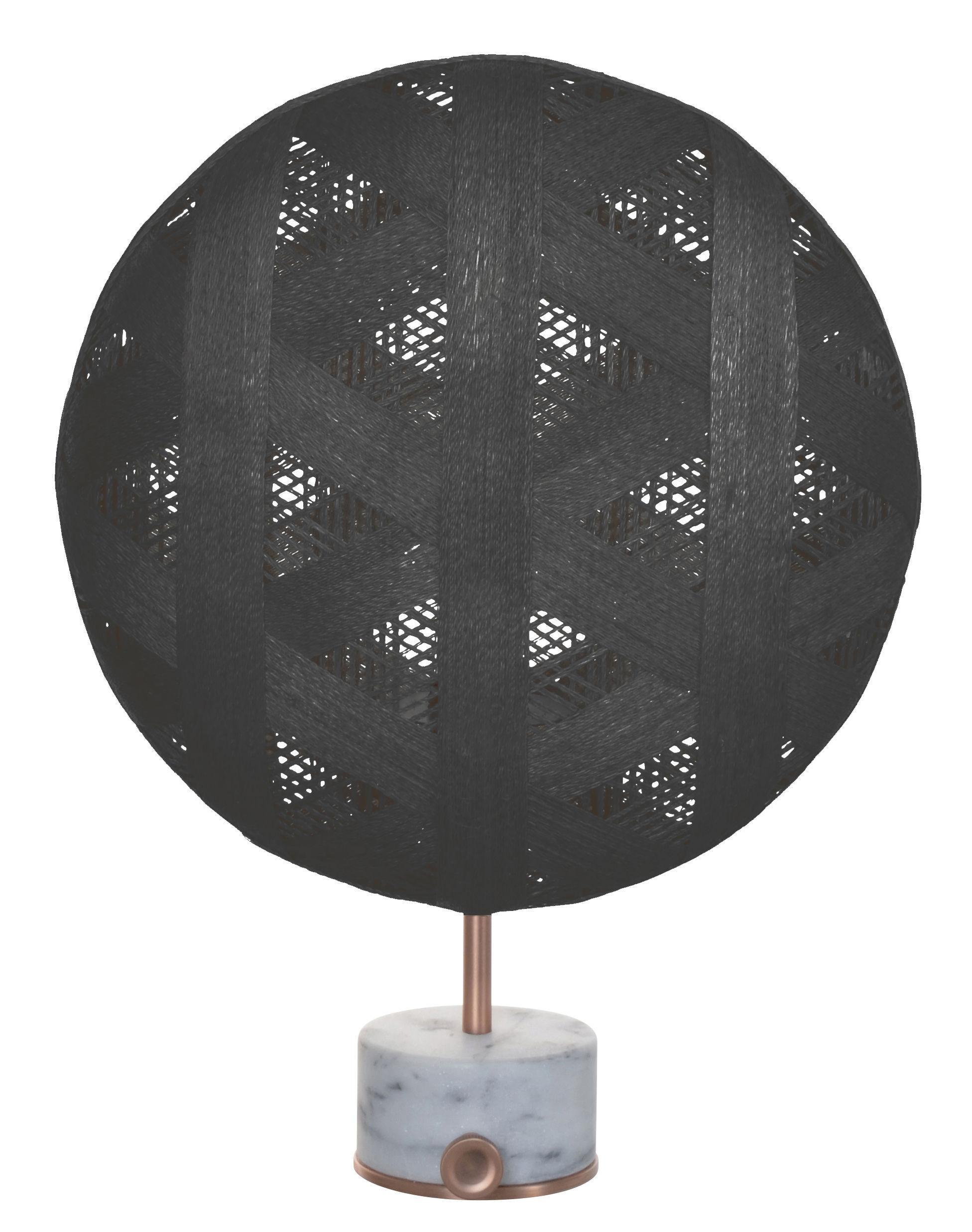 Illuminazione - Lampade da tavolo - Lampada da tavolo Chanpen Hexagon - / Ø 36 cm - Motivo triangolo di Forestier - Nero / Rame - Marmo, Metallo, Tessuto in abaca