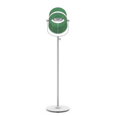 Luminaire - Lampadaires - Lampadaire solaire La Lampe Paris LED / Hybride & connectée - Maiori - Jade / Pied blanc - Aluminium peint, Tissu
