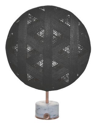 Lampe de table Chanpen Hexagon / Ø 36 cm - Motifs triangles - Forestier cuivre,noir en tissu