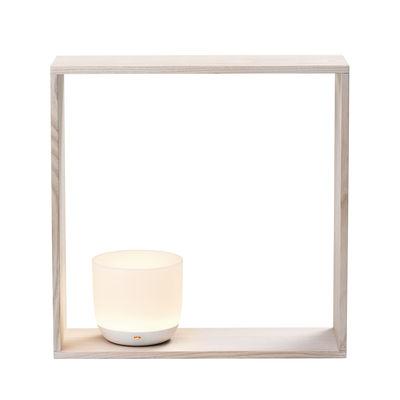 Leuchten - Tischleuchten - Gaku Lampe / kabelloser Diffusor, induktives Laden - Flos - Rahmen Esche / Lampe weiß - Esche, massiv, Polykarbonat
