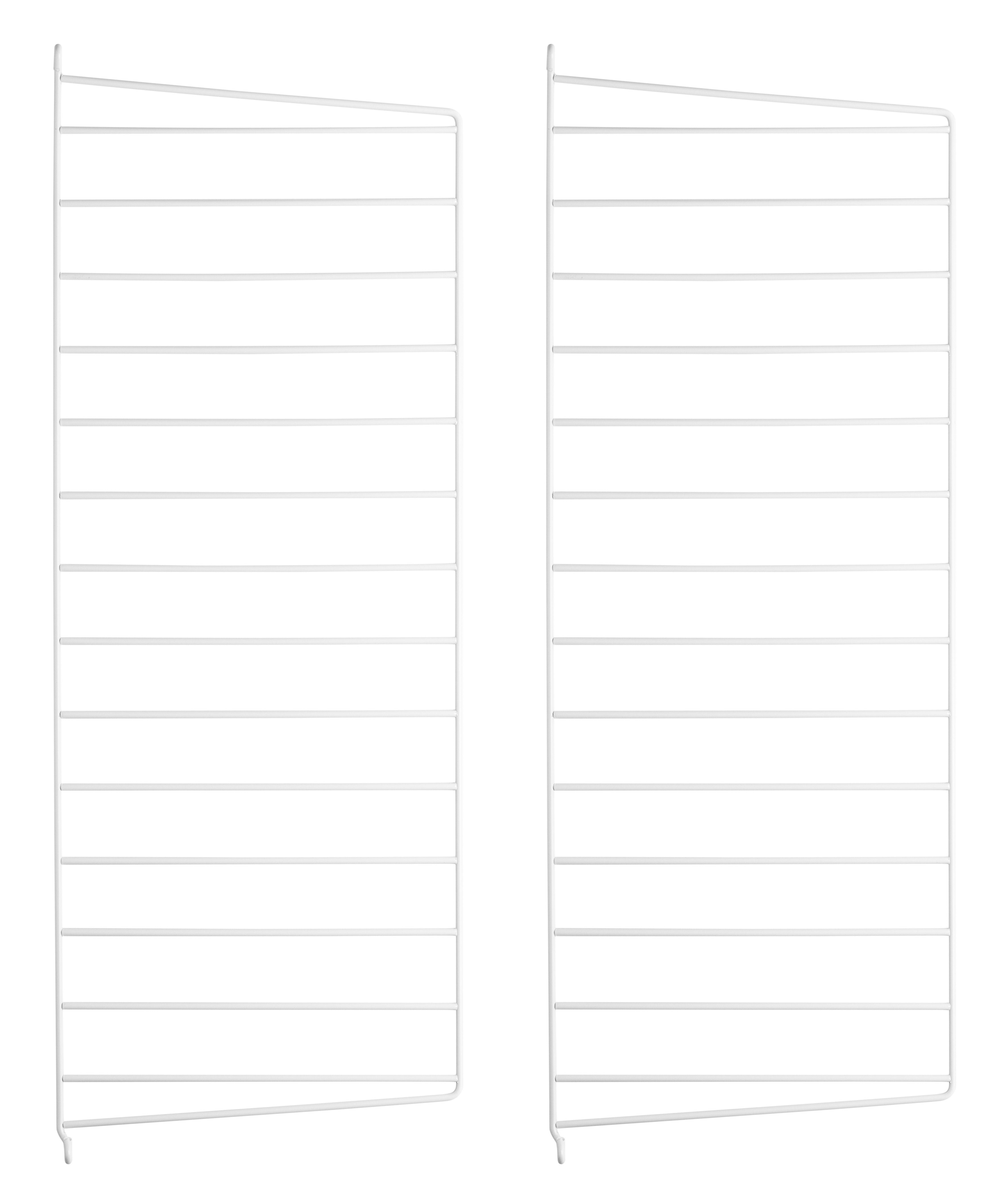 Arredamento - Scaffali e librerie - Montante murale String system - / da appendere - Set da 2 di String Furniture - Set 2 montanti / Bianco - Acciaio laccato