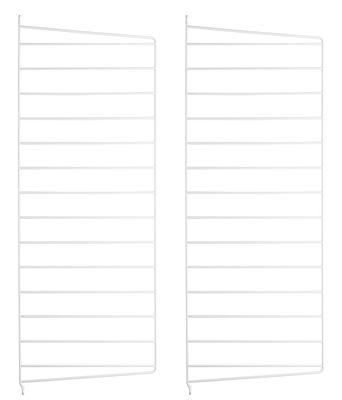 Arredamento - Scaffali e librerie - Montante murale String® system - / da appendere - Set da 2 di String Furniture - Set 2 montanti / Bianco - Acciaio laccato