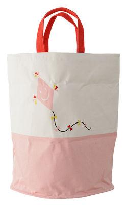 Déco - Pour les enfants - Panier en tissu / Ø 40 x H 50 cm - Bloomingville - Rose / Motif cerf-volant - Toile de coton