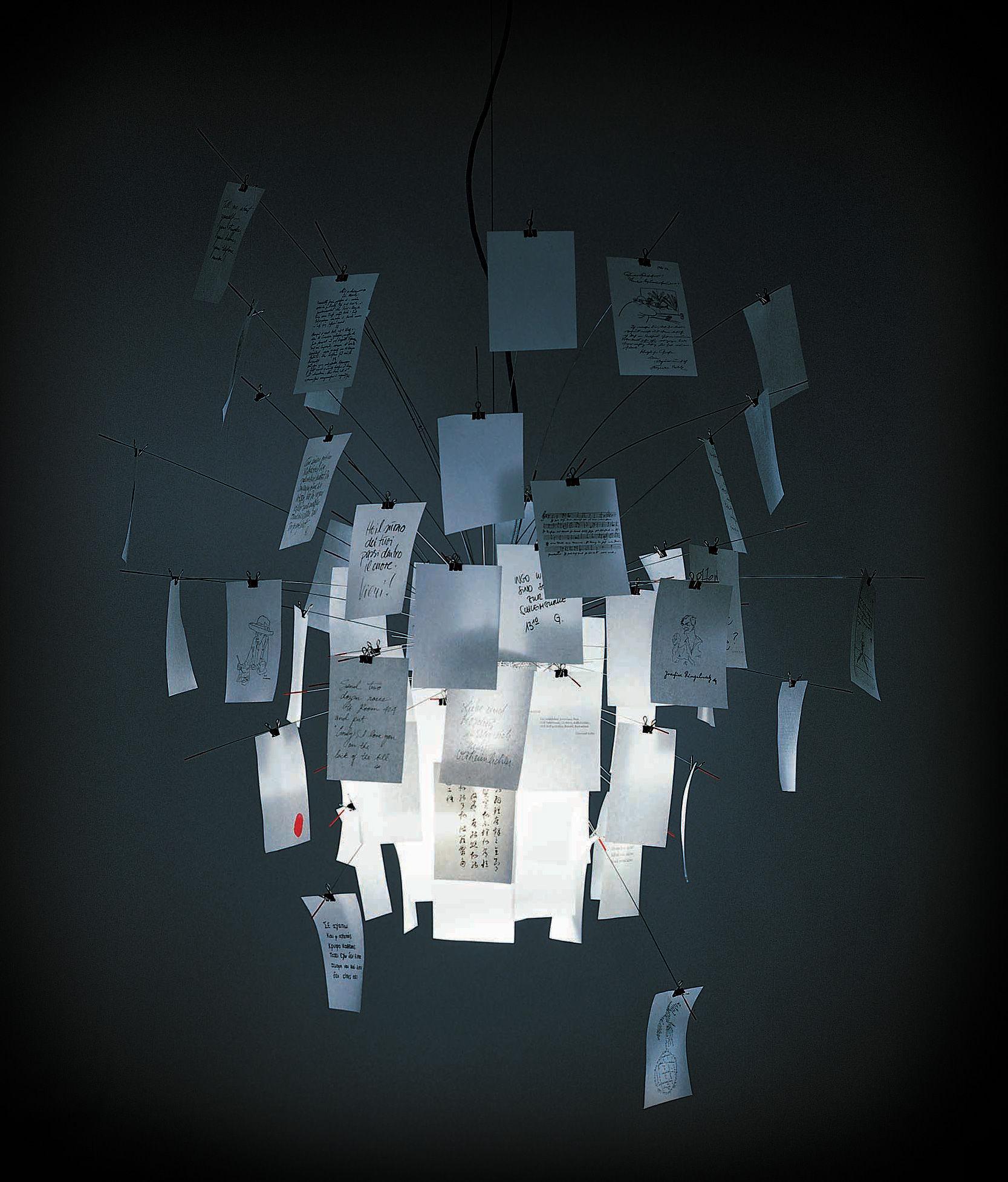 Leuchten - Pendelleuchten - Zettel'z 5 Pendelleuchte - Ingo Maurer - Edelstahl - Papier blanko und bedruckt - Ø 120 cm - Metall, Papierfaser