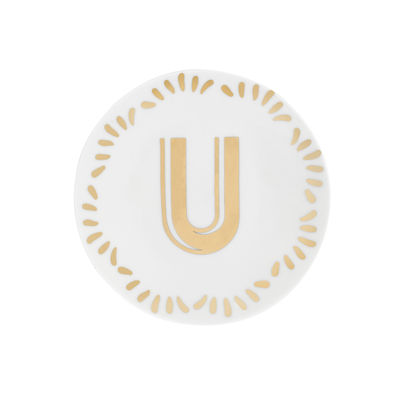 Tableware - Plates - Lettering Petit fours plates - Ø 12 cm / Letter U by Bitossi Home - Letter U / Gold - China