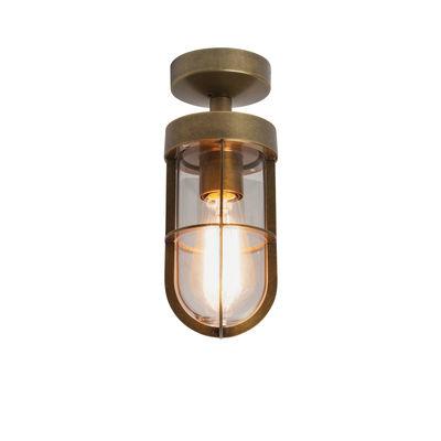 Illuminazione - Plafoniere - Plafoniera Cabin Semi Flush di Astro Lighting - Ottone invecchiato - Vetro, Zinco