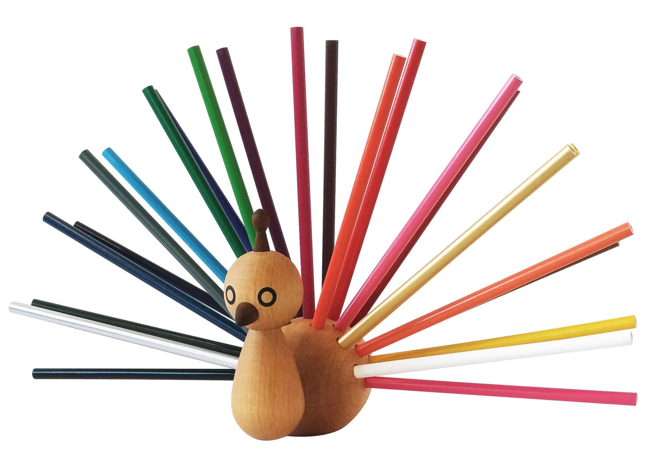 Déco - Pour les enfants - Porte-crayons Peacock / 24 crayons inclus - EO - Bois naturel / Crayons multicolores - Hêtre massif