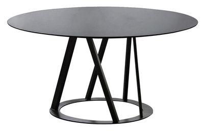 Trends - Zu Tisch! - Big Irony Runder Tisch Ø 147 cm - rund - Zeus - Tischplatte schwarz phosphatiert - Gestell kupferschwarz - Acier inoxydable peint epoxy