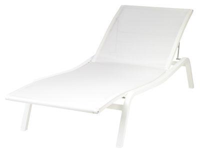 Outdoor - Liegen und Hängematten - Alizé Sonnenliege B 80 cm / 5 Positionen - Fermob - Weiß - lackiertes Aluminium, Polyester-Gewebe