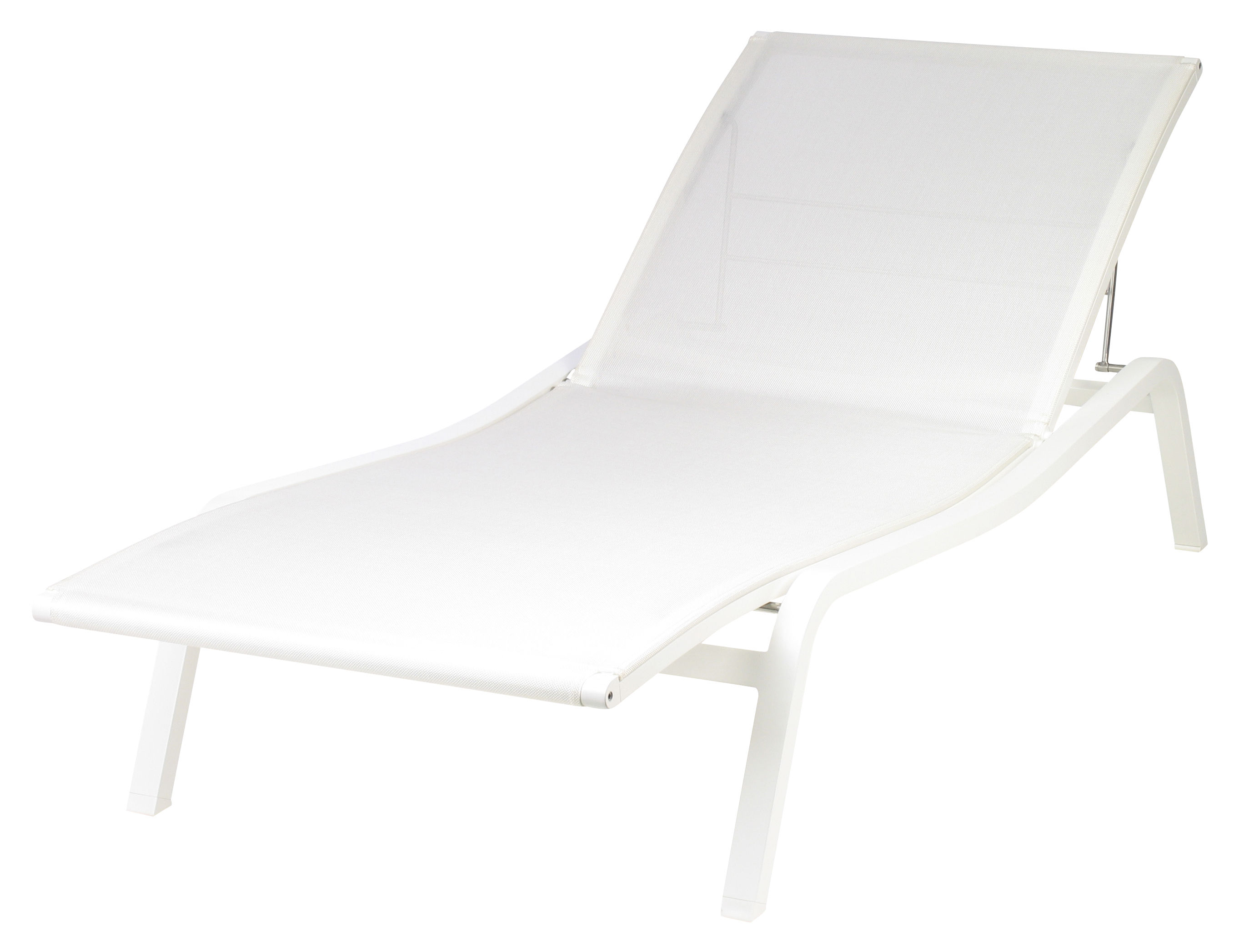 Outdoor - Liegen und Hängematten - Alizé Sonnenliege B 80 cm / 3 Positionen - Fermob - Weiß - lackiertes Aluminium, Polyester-Gewebe