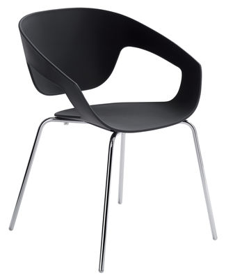 Furniture - Chairs - Vad Stackable armchair - Plastic & metal legs by Casamania - Black - Polypropylene, Varnished metal