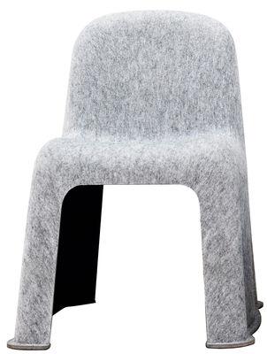 Furniture - Chairs - Nobody Stacking chair - Felt by Hay - Light grey / Dark grey - Fine felt fabric, Plastic PET