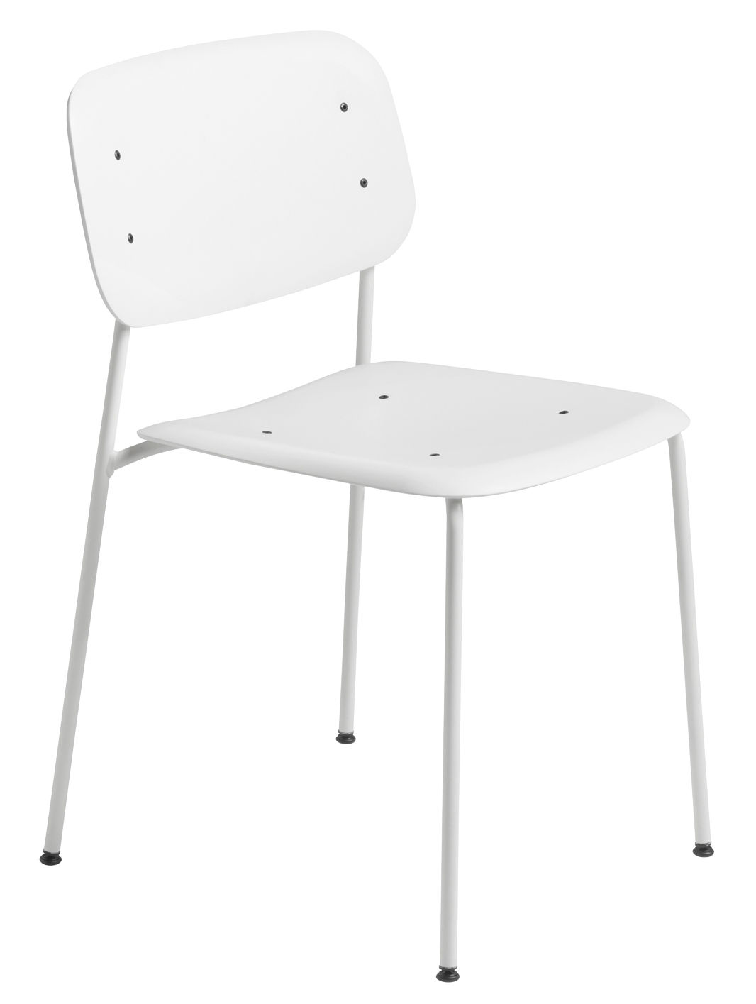 Furniture - Chairs - Soft Edge P10 Stacking chair - / Metal & plastic by Hay - White / White legs - Lacquered steel, Polypropylene