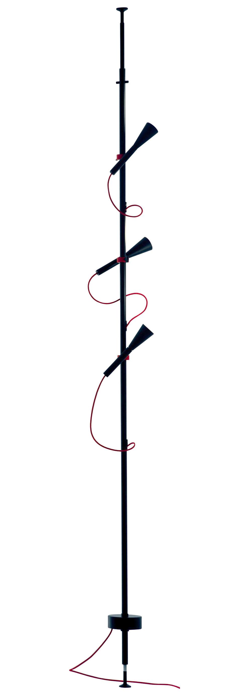 Leuchten - Stehleuchten - Colibri LED Stehleuchte / 3 Schwenkspots - Martinelli Luce - Stehlampe / schwarz & rotes Stromkabel - klarlackbeschichtetes Aluminium