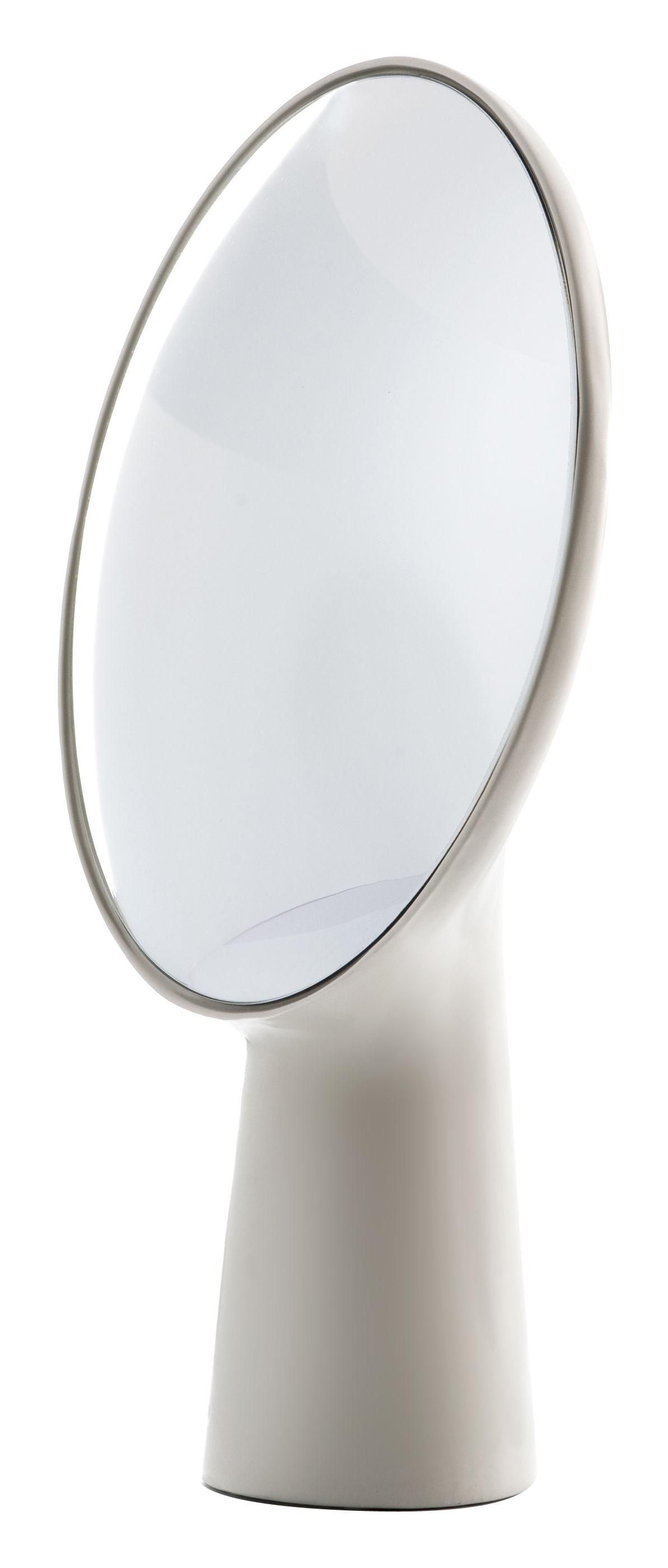 Möbel - Spiegel - Cyclope Stellspiegel zum stellen - H 46,5 cm - Moustache - Ecru - emailliertes Terrakotta