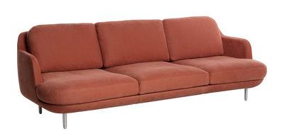 Furniture - Sofas - Lune Straight sofa - Fabric & aluminium by Fritz Hansen - Orange / Brushed alu - Brushed aluminium, Cotton
