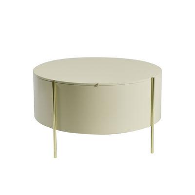 Mobilier - Tables basses - Table basse Embore / Coffre de rangement - Ø 80 x H 45 cm - ENOstudio - Beige / Or - Acier, MDF laqué