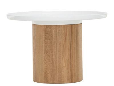 Mobilier - Tables basses - Table d'appoint Apu 3 / Plateau céramique - Ø 48 cm - Zeitraum - Ø 48 cm - Blanc / Base chêne naturel - Céramique, Chêne massif