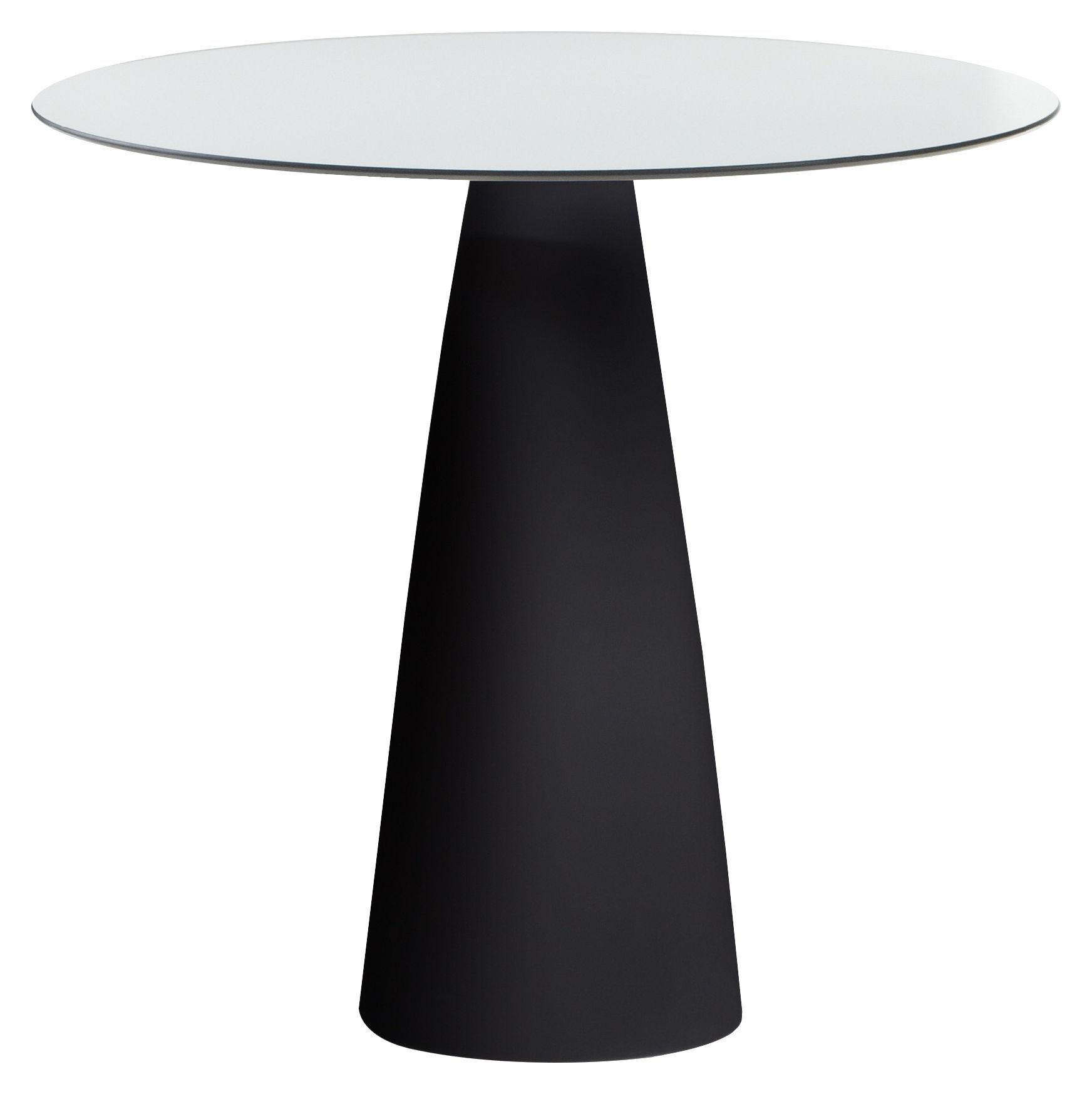 Outdoor - Tables de jardin - Table ronde Hoplà - H 72 cm / Ø 79 cm - Slide - Ø 79 cm / Blanc & pied noir - HPL stratifié, Polyéthylène recyclable