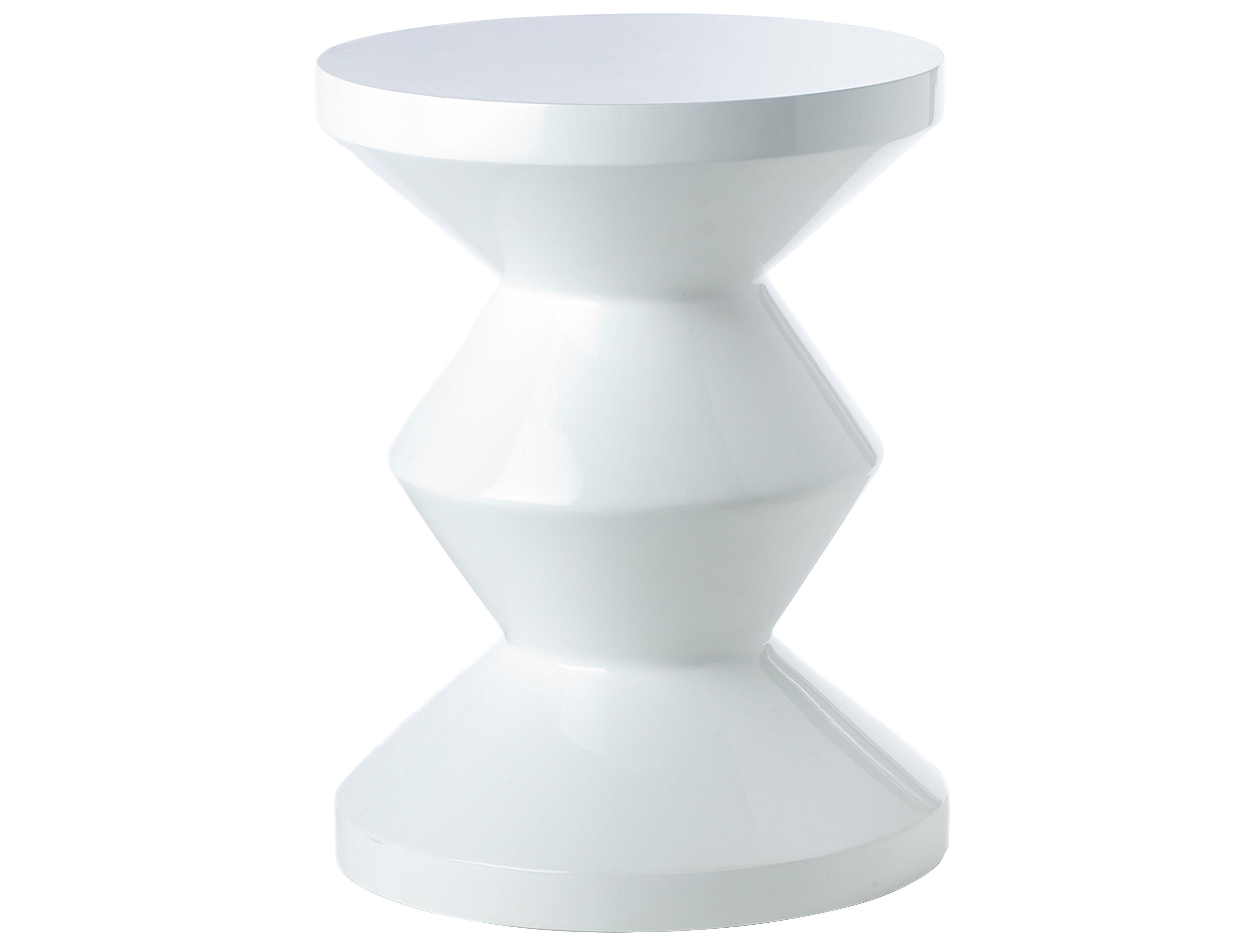 Mobilier - Tabourets bas - Tabouret Zig Zag / Plastique - Pols Potten - Blanc - Polyester laqué