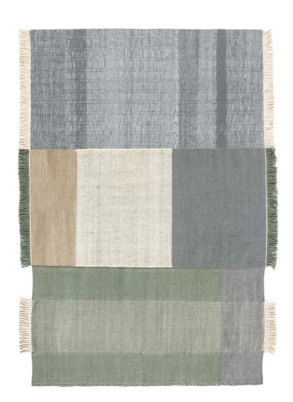 Déco - Tapis - Tapis Tres / 170 x 240 cm - Nanimarquina - Ecru, bleu & vert - Coton, Feutre, Laine de Nouvelle-Zélande