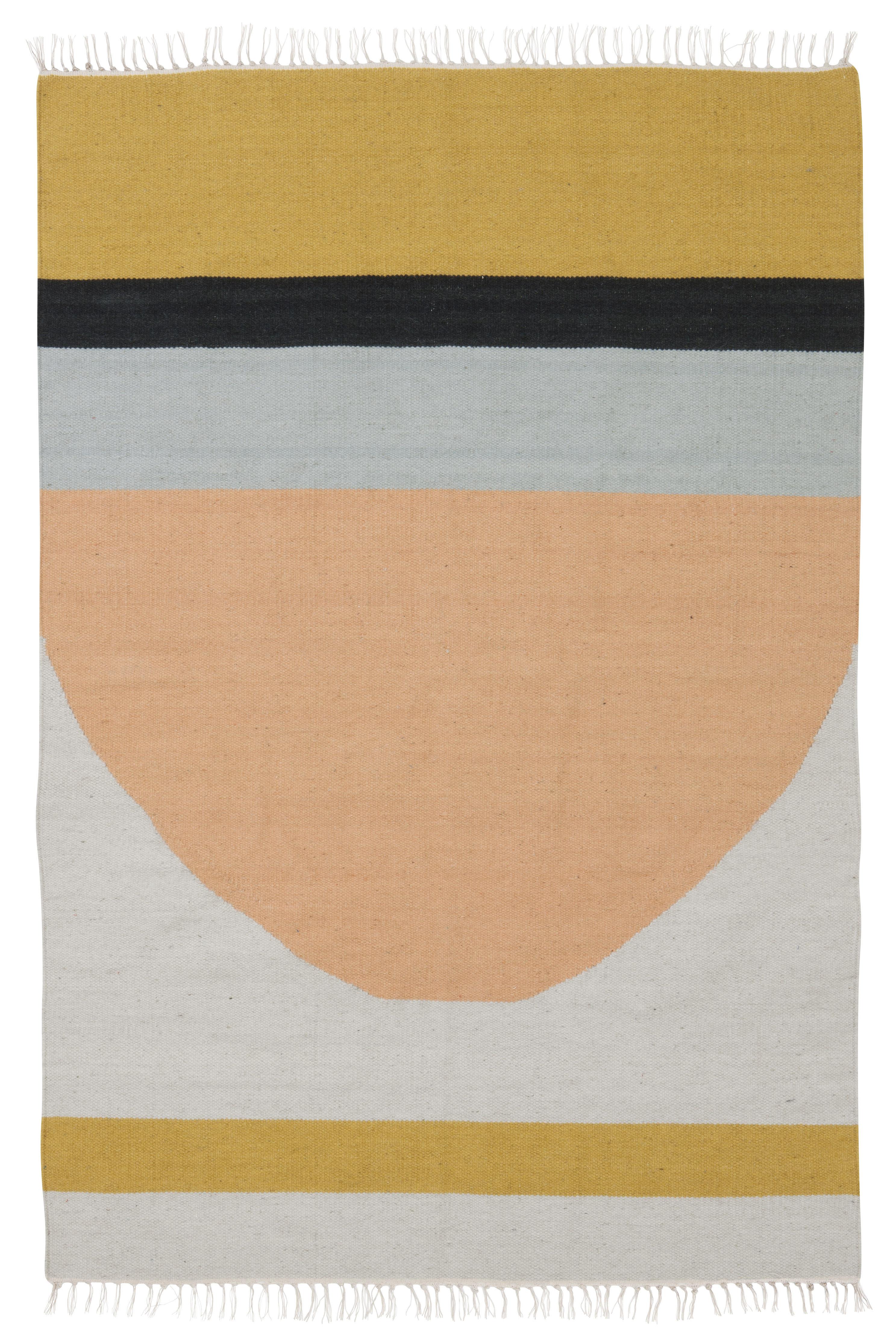 Interni - Tappeti - Tappeto Kelim Semi Circle - / 200 x 140 cm di Ferm Living - Cerchi / Multicolore - Cotone, Lana