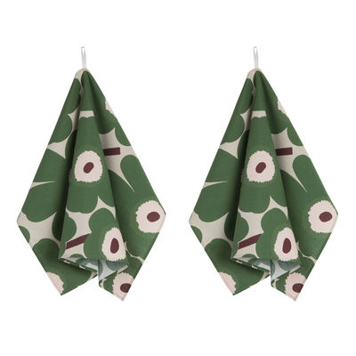 Kitchenware - Tea Towels & Aprons - Pieni Unikko Tea towel - / Set of 2 by Marimekko - Pieni Unikko / Green - Cotton, Linen