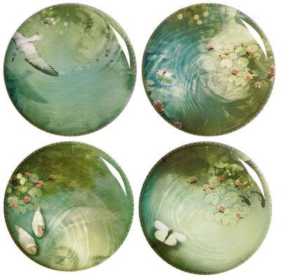 Tischkultur - Teller - Yuan Teller 4 Stück - Ibride - Außen: schwarz / Innen: Zeichnungen - Melamin