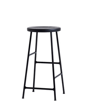 Furniture - Bar Stools - Cornet Bar stool - / H 65 cm by Hay - Tinted oak / Black legs - Lacquered steel, Tinted oak wood
