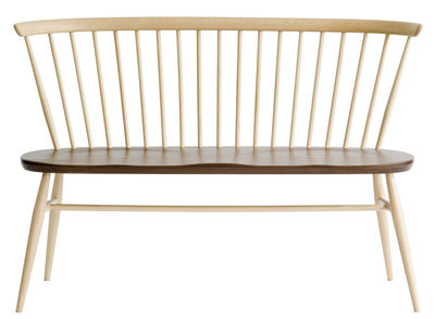 Furniture - Benches - Love Seat Bench with backrest - 117 cm - 1955 Reissue by Ercol - Walnut - Natural beechwood, Solid walnut