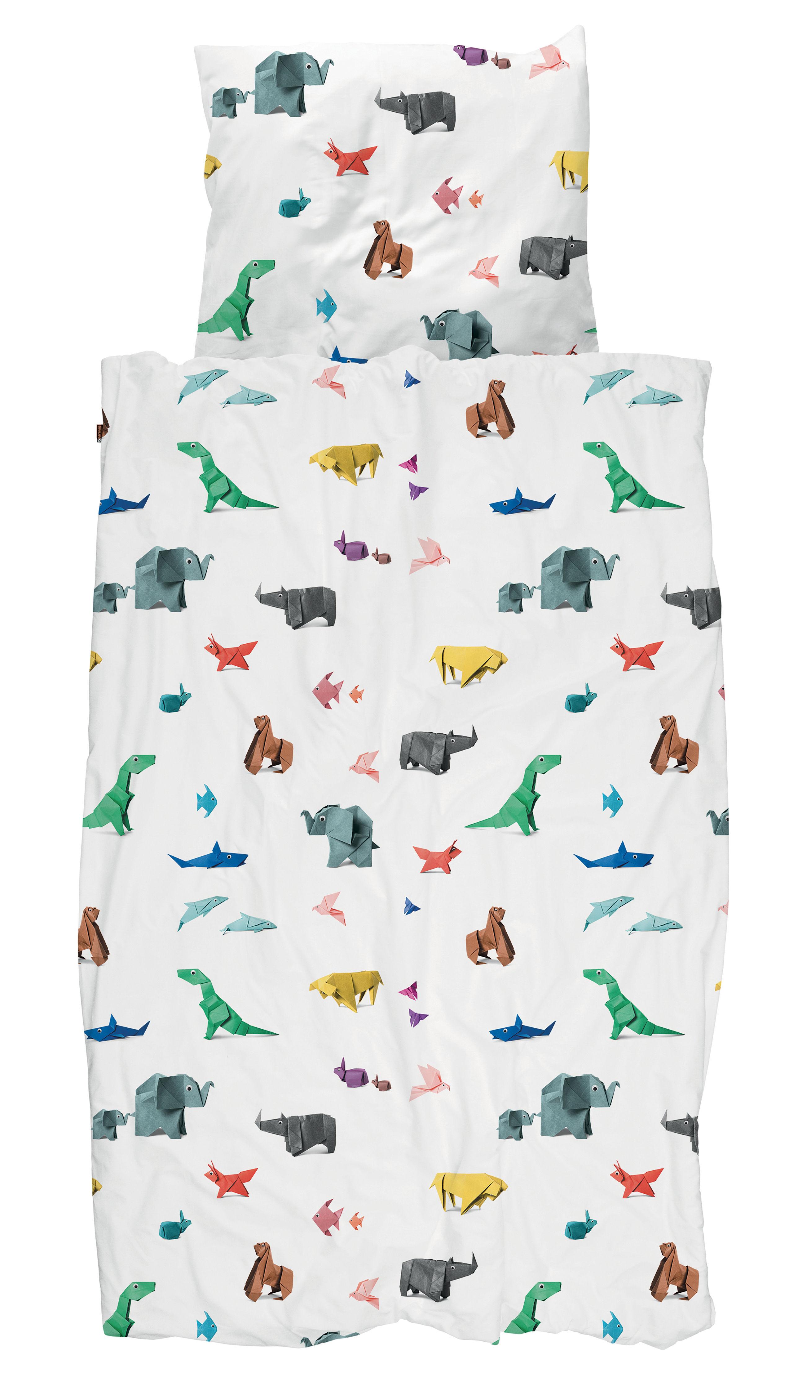 Dekoration - Für Kinder - Paper Zoo Bettwäsche-Set für 1 Person / 140 x 200 cm - Snurk - Origami-Tiere / mehrfarbig - Percale de coton