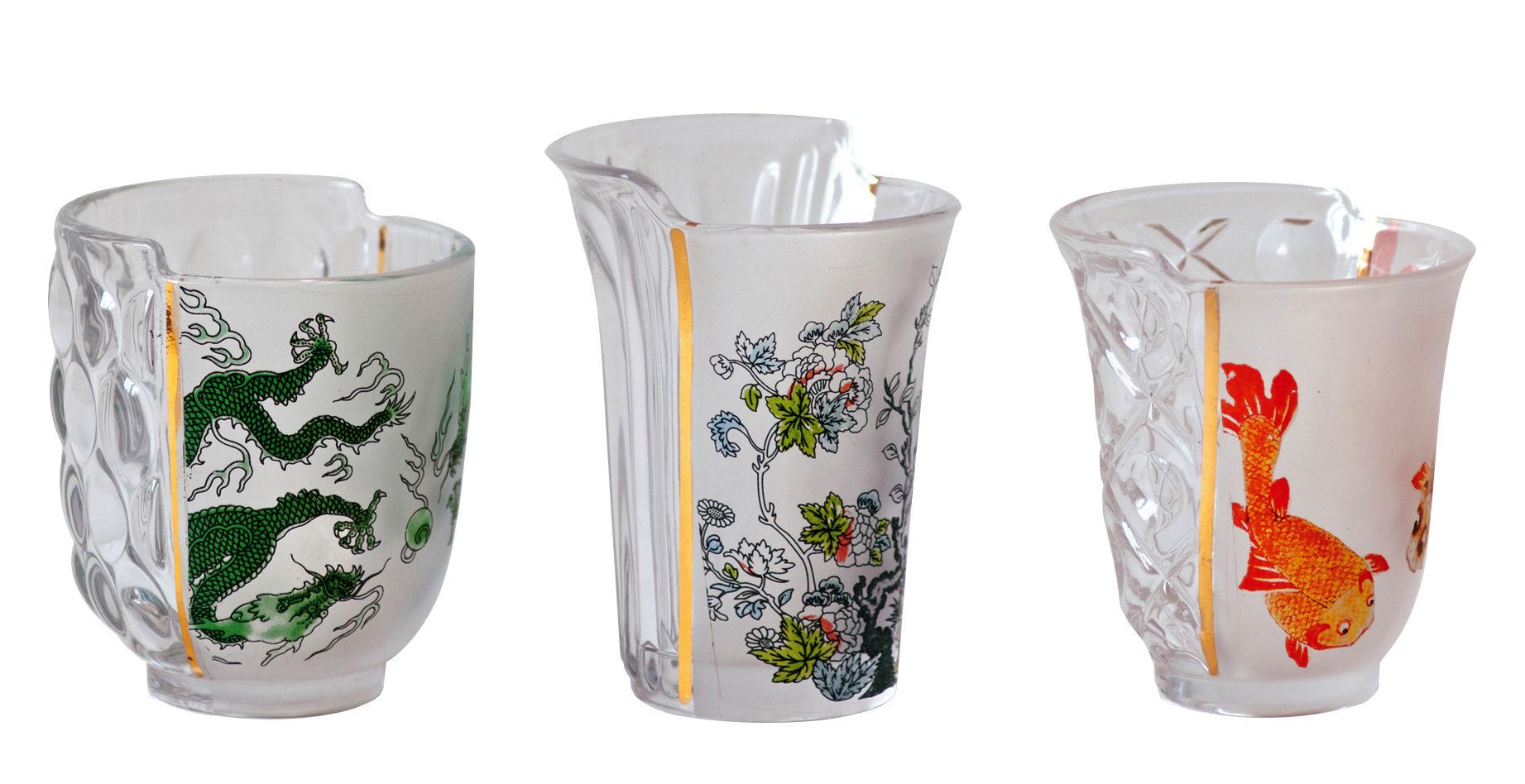 Tavola - Bicchieri  - Bicchiere Hybrid Aglaura - / Set da 3 di Seletti - Multicolore - Vetro