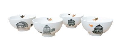 Bol Freedom Birds / Set de 4 - Pols Potten noir/or en céramique