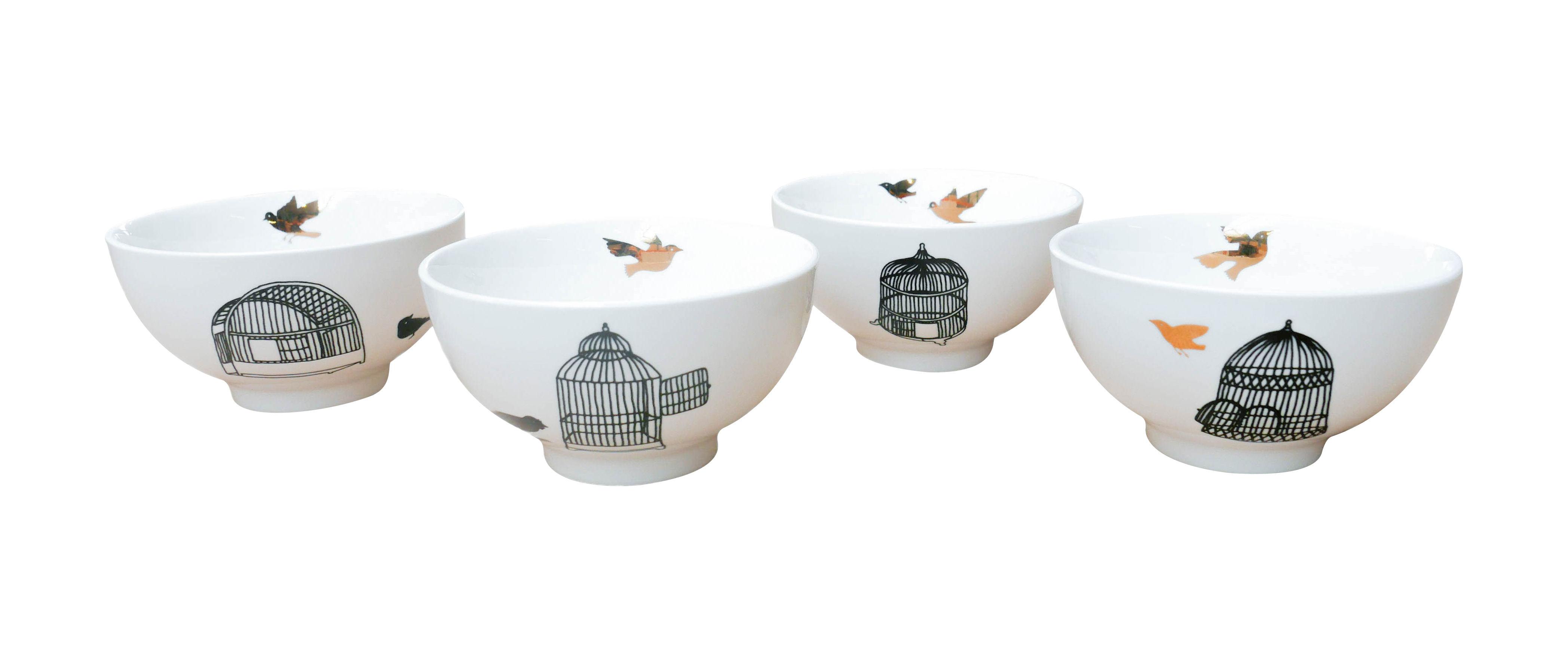 Arts de la table - Saladiers, coupes et bols - Bol Freedom Birds / Set de 4 - Pols Potten - Motifs noirs & or - Porcelaine vernie