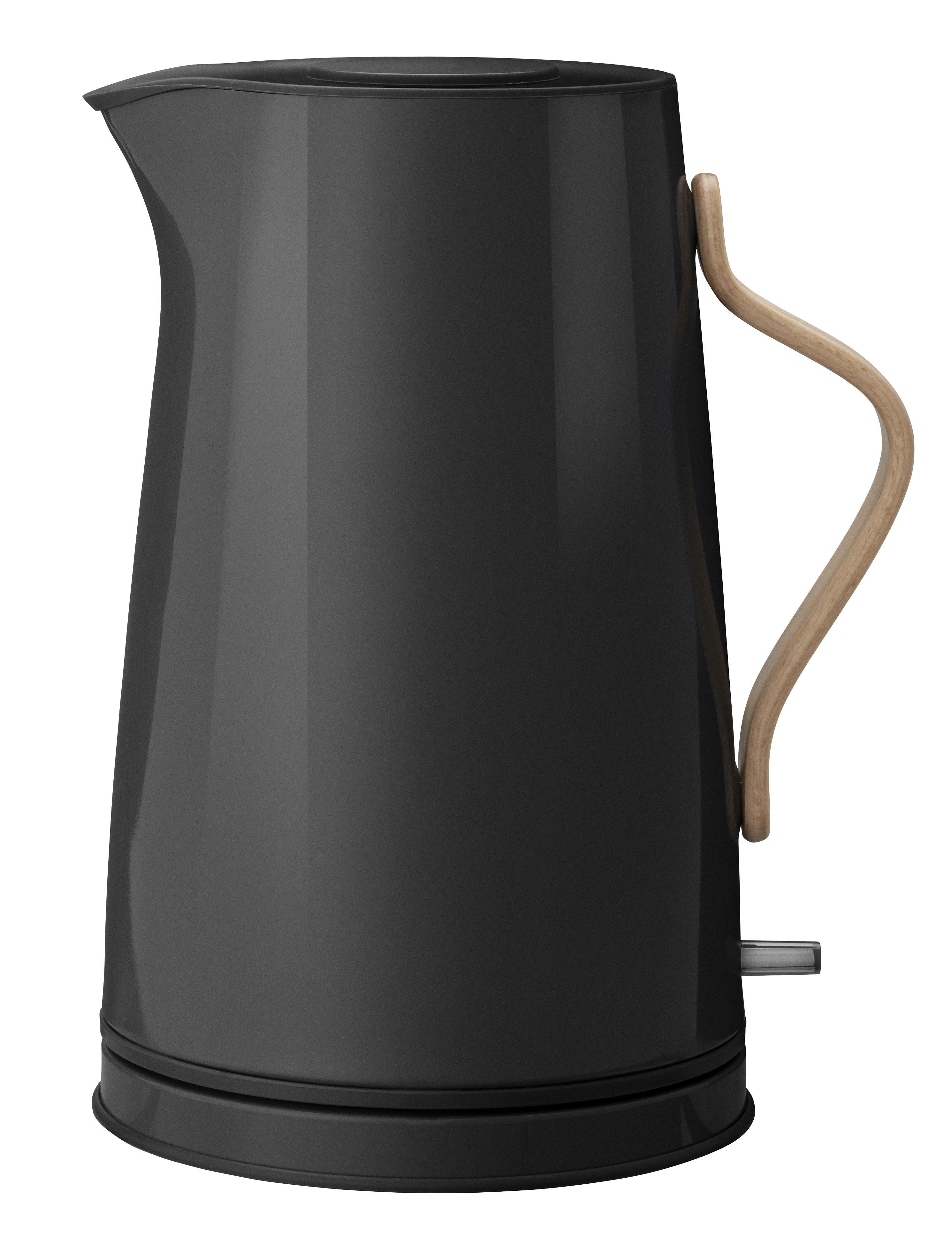 Arts de la table - Thé et café - Bouilloire électrique Emma / 1,2 L - Bois & métal - Stelton - Noir & bois - Acier inoxydable, Hêtre
