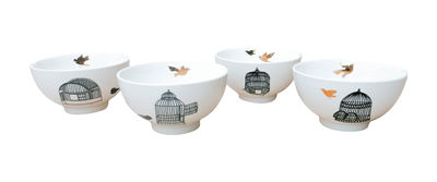 Tableware - Bowls - Freedom Birds Bowl - Set of 4 by Pols Potten - Black & gold - Varnished china