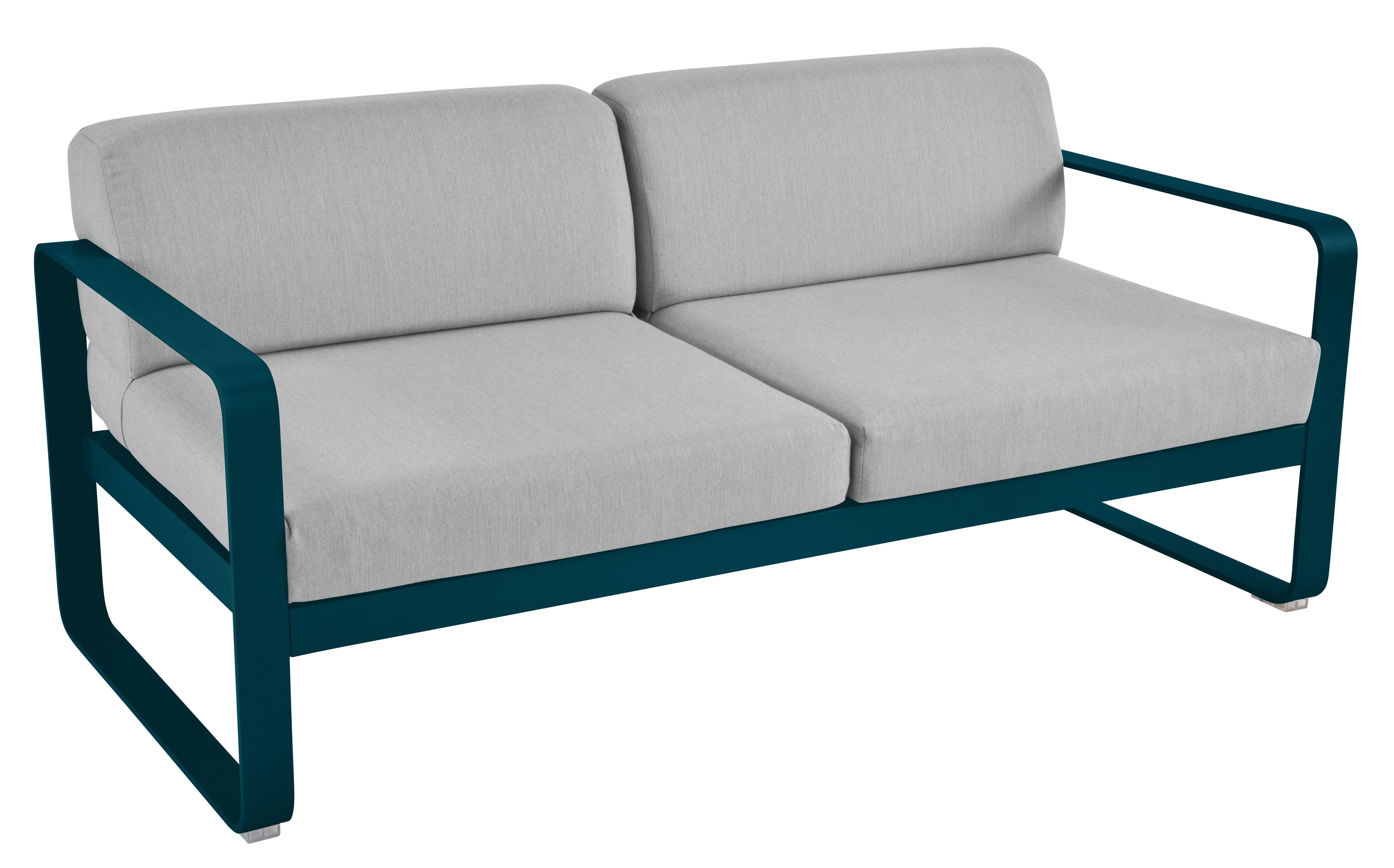 Mobilier - Canapés - Canapé droit Bellevie 2 places / L 160 cm - Tissu gris flanelle - Fermob - Bleu Acapulco / Tissu gris  flanelle - Aluminium laqué, Mousse, Tissu acrylique