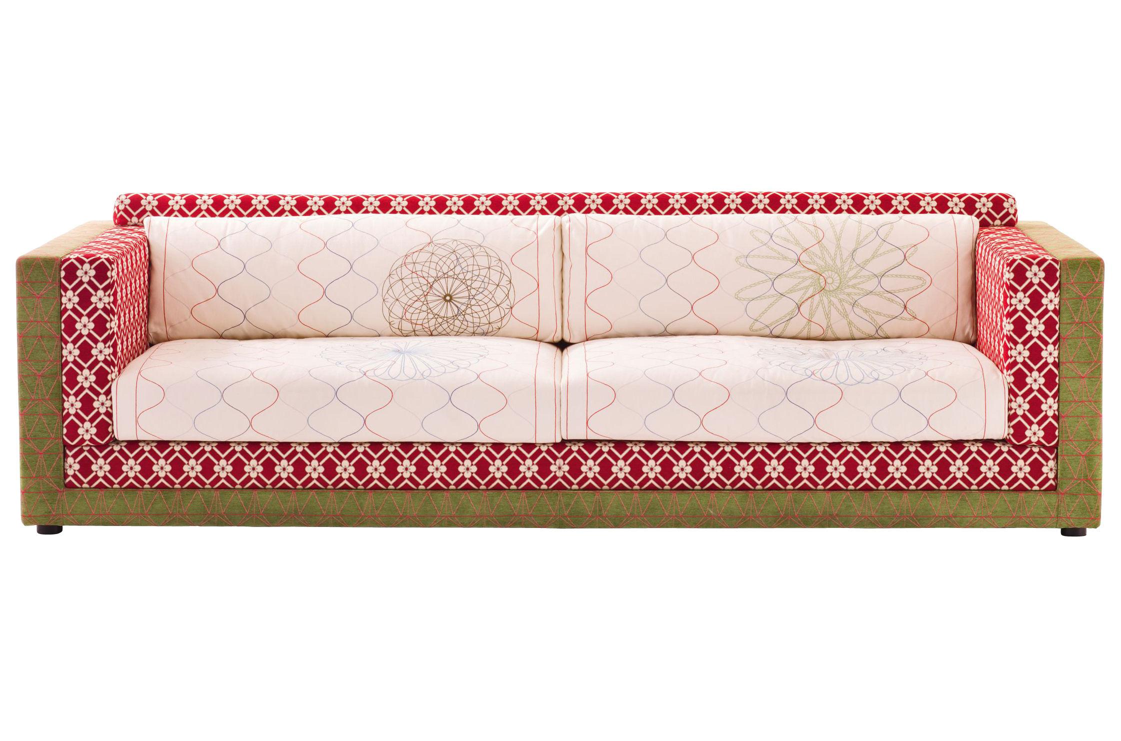 Mobilier - Canapés - Canapé droit Sushi - Karmakoma / 3 places - L 210 cm - Moroso - L 210 cm - Blanc, rouge et vert - Tissu