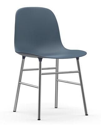 Chaise Form / Pied chromé - Normann Copenhagen bleu,chromé en matière plastique