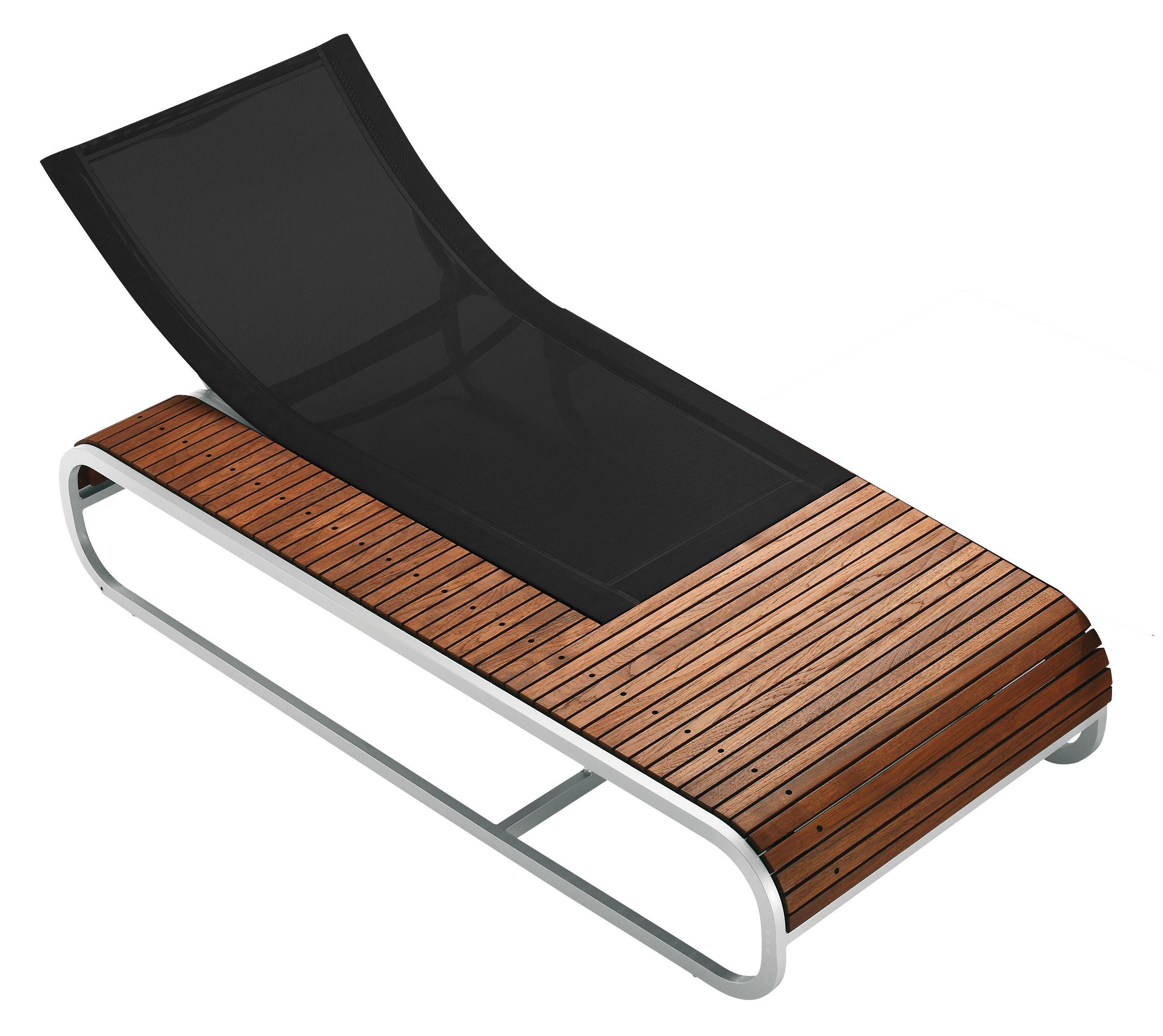 Outdoor - Sedie e Amache - Chaise longue Tandem - Versione teck di EGO Paris - Teck / Tela nera - Alluminio laccato, Teck, Tela Batyline