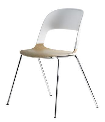 Mobilier - Chaises, fauteuils de salle à manger - Chaise Pair / Bois & plastique - Fritz Hansen - Chêne & blanc / Pieds chromés - Acier chromé, Contreplaqué de chêne moulé, Polycarbonate
