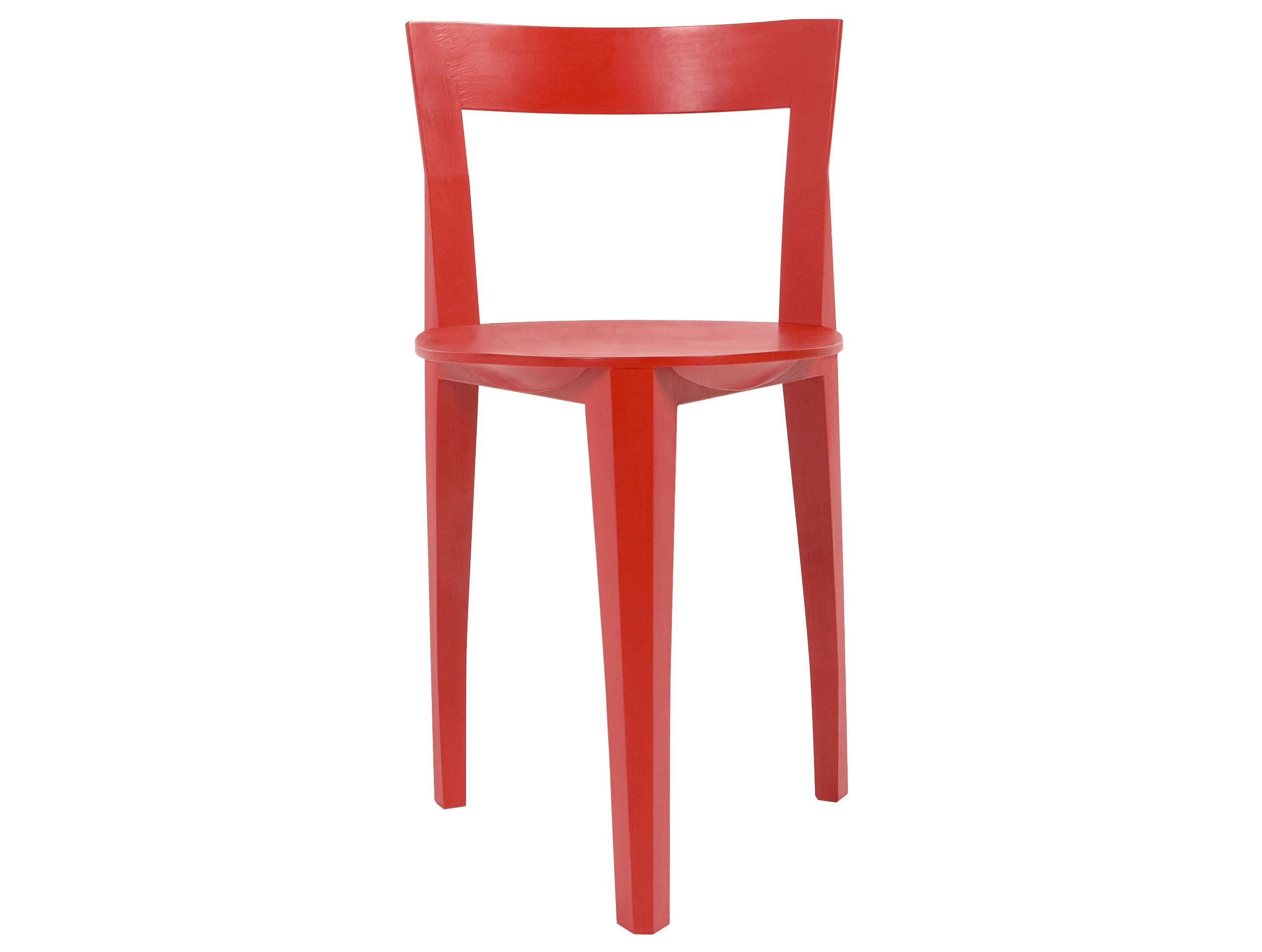 Mobilier - Chaises, fauteuils de salle à manger - Chaise Petite Gigue / Bois - Moustache - Rouge - Chêne laqué