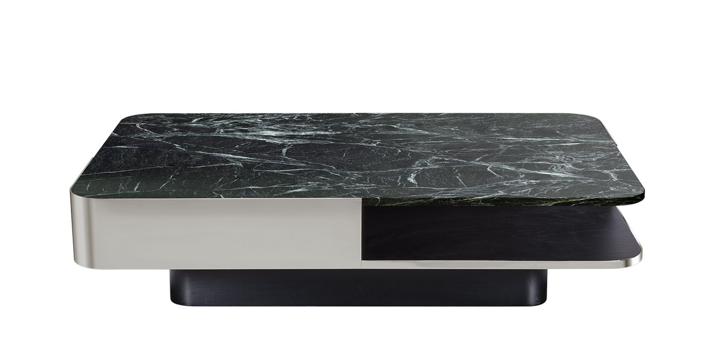 Furniture - Coffee Tables - Lounge Coffee table - / Marble - 120 x 80 cm by RED Edition - Stainless steel / Green marble - Marble, Stainless steel, Tinted solid beech